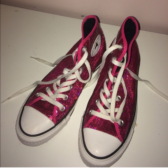 Converse Shoes - Pink Sequined Converse High Tops 073fa159f